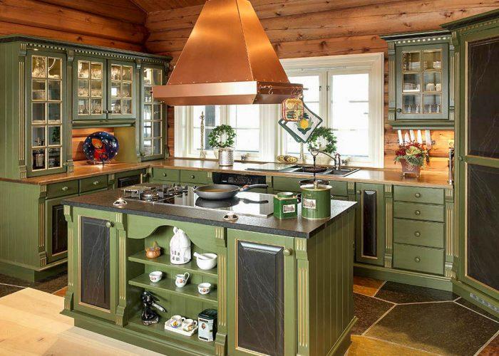 Grønt kjøkken landlig stil